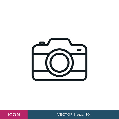Camera icon vector design template. Editable stroke