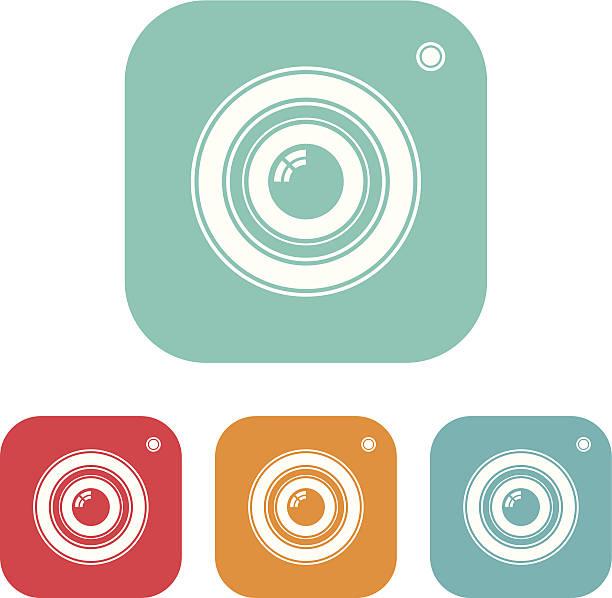 stockillustraties, clipart, cartoons en iconen met camera icon - telelens