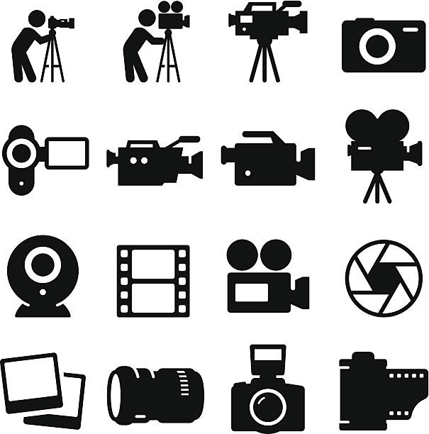 stockillustraties, clipart, cartoons en iconen met camera icons - black series - camera