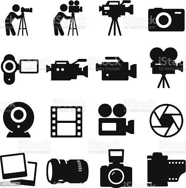 Caméra Série Dicônesnoir Vecteurs libres de droits et plus d'images vectorielles de Appareil photo