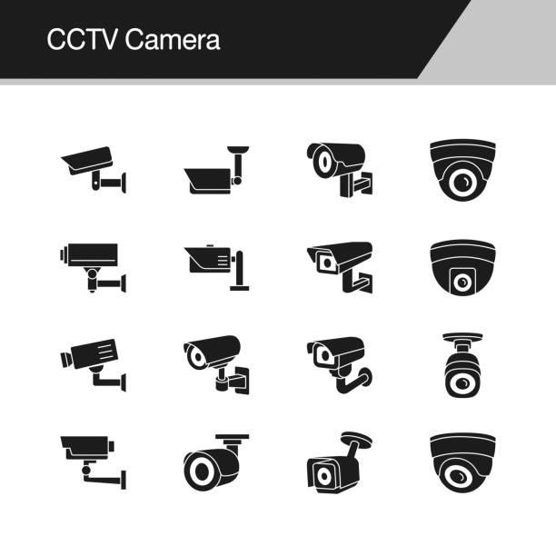 illustrations, cliparts, dessins animés et icônes de icônes de caméra cctv. conception de présentation, graphisme, application mobile, conception web, infographie, interface utilisateur. illustration vectorielle. - video