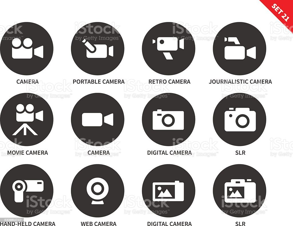 Camera icons on white background vector art illustration