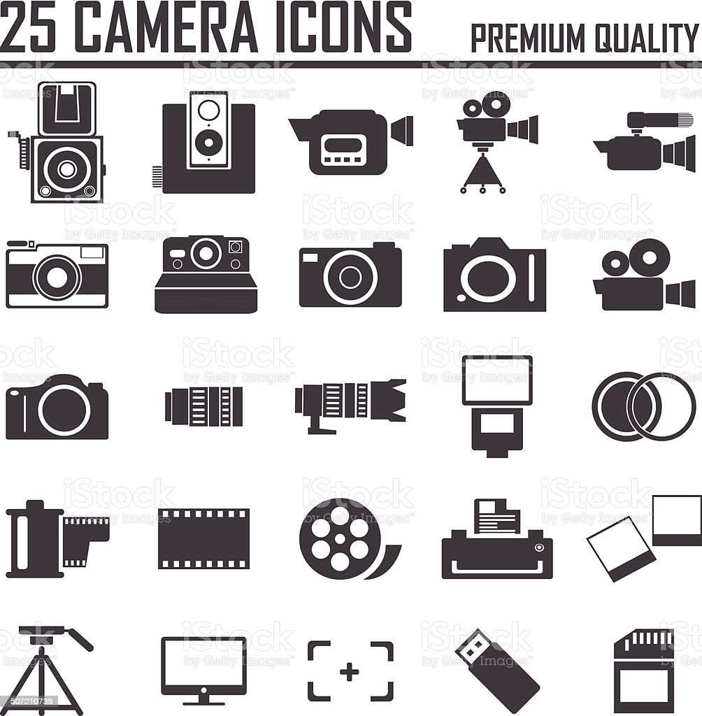 25 camera icons, premium quality vector art illustration
