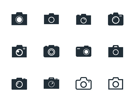 camera icons set, photo camera sign vector illustration