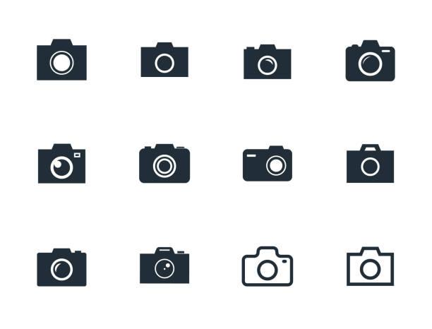 カメラのアイコンを設定、写真カメラ記号のベクトル イラスト - カメラ点のイラスト素材/クリップアート素材/マンガ素材/アイコン素材