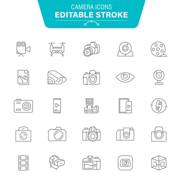 stockillustraties, clipart, cartoons en iconen met camera iconen - gopro