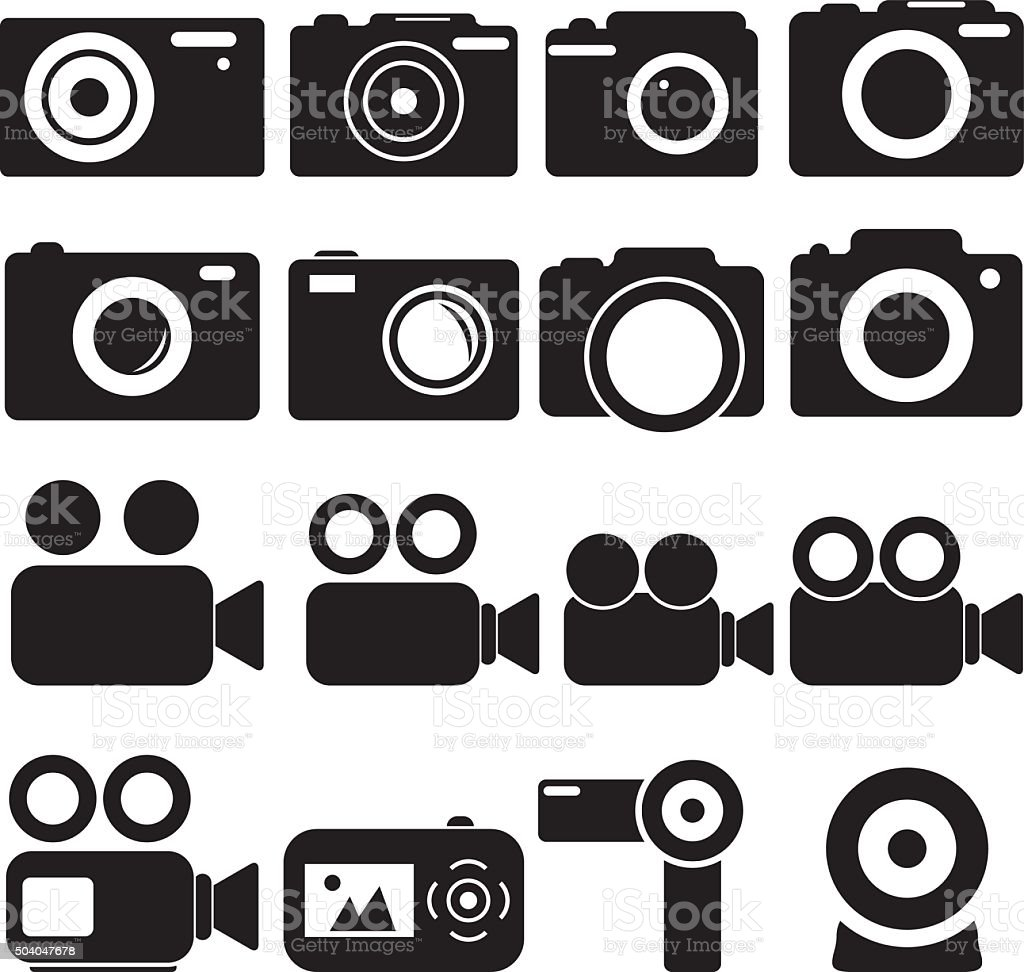 Camera Icons vector art illustration