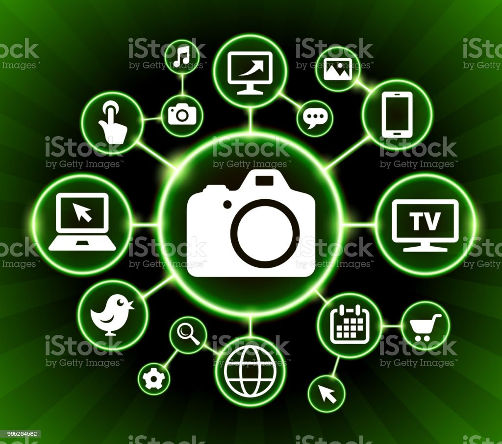 DSLR Camera Internet Communication Technology Dark Buttons Background dslr camera internet communication technology dark buttons background - stockowe grafiki wektorowe i więcej obrazów aparat fotograficzny royalty-free