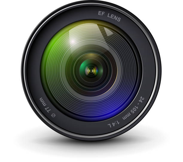 Camera lens 3D icon Camera photo lens 3D realistic icon, vector illustration. extreme close up stock illustrations