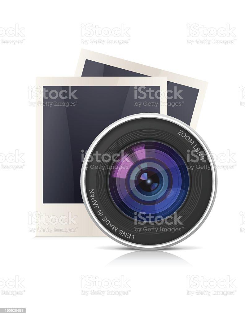 Camera Lens and Polaroid Frames vector art illustration
