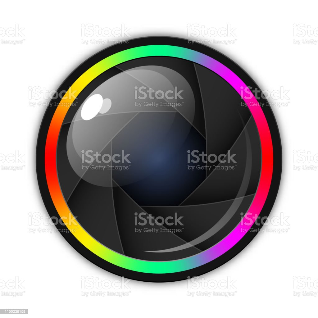 Camera lens, aperture or shutter icon. Vector illustration with soft...