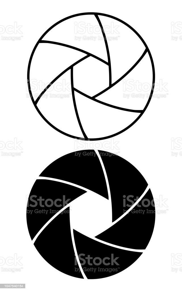 camera lens aperture ring icon set vector art illustration