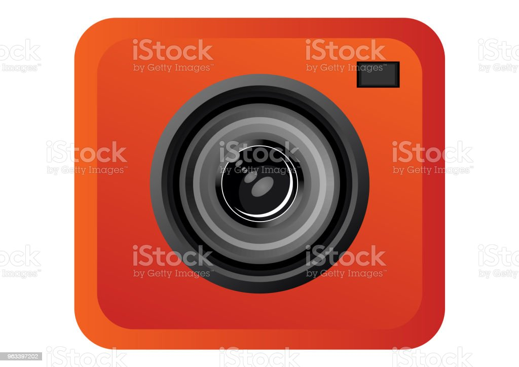 Ikona obiektywu aparatu - Grafika wektorowa royalty-free (Aparat fotograficzny)