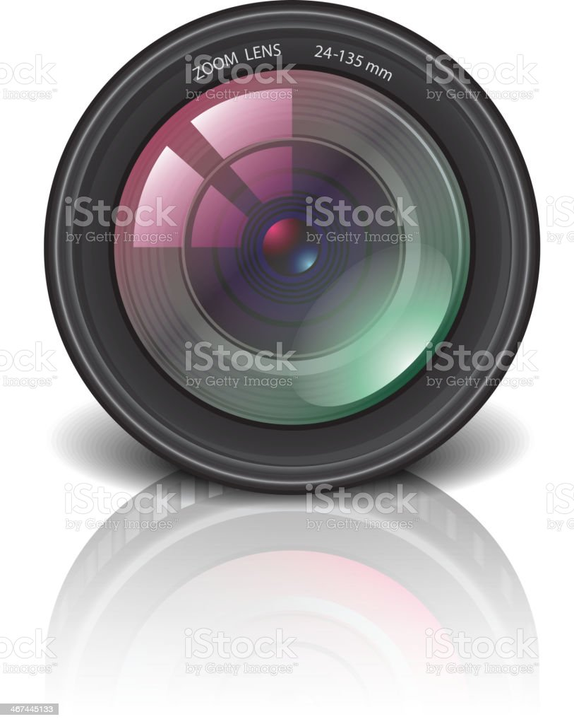 Camera lens icon vector illustration royalty-free camera lens icon vector illustration stock vector art & more images of black color