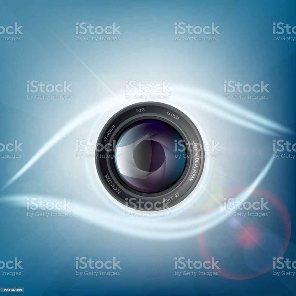 Camera lens is in the form of a human eye. vector art illustration