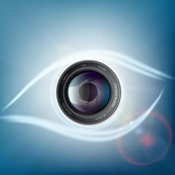 Objectif de la caméra est sous la forme d'un œil humain. - Illustration vectorielle