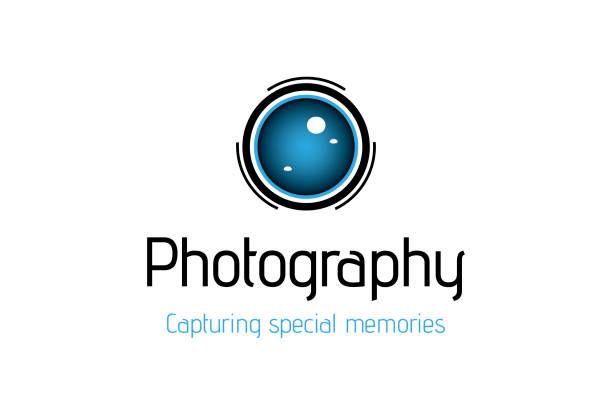 camera lens logo design - wedding photographer stock illustrations