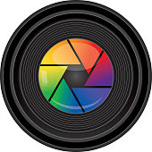 Vector illustration of a camera lend with a rainbow colored shutter.