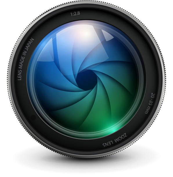 Camera lens Camera photo lens with shutter. aperture stock illustrations