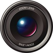 an editable vector illustration of camera lens