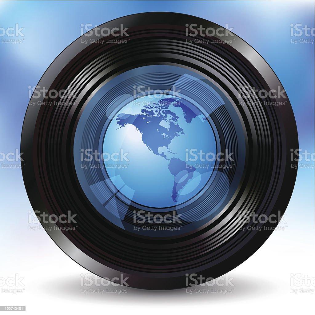 Camera lens with a world globe royalty-free stock vector art