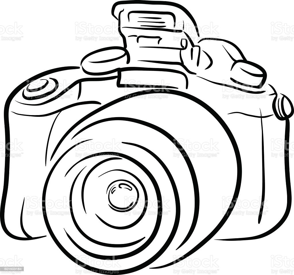 Line Art Vector Photo : Dslr camera line art stock vector more images of