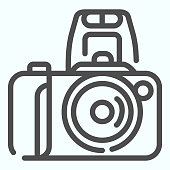 Camera line icon. Device to record photo vector illustration isolated on white. Photo camera outline style design, designed for web and app. Eps 10