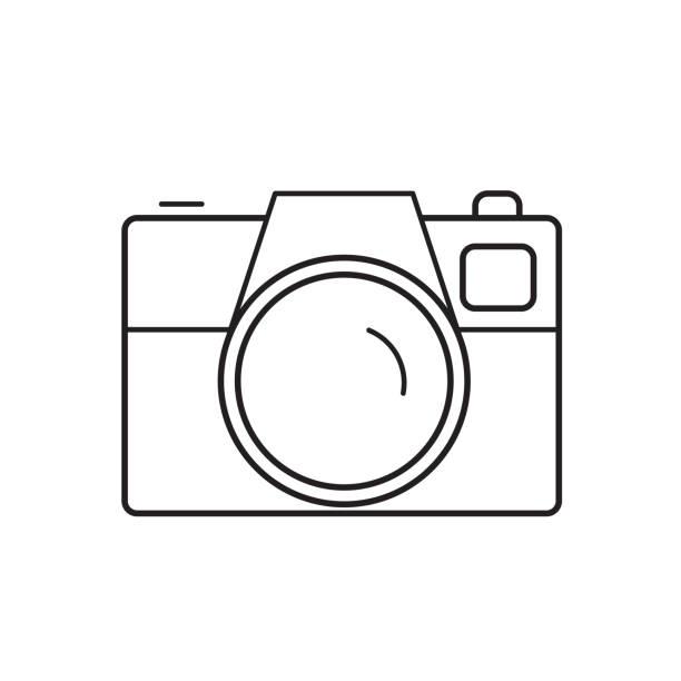 ilustraciones, imágenes clip art, dibujos animados e iconos de stock de icono de cámara de la línea - zoom call