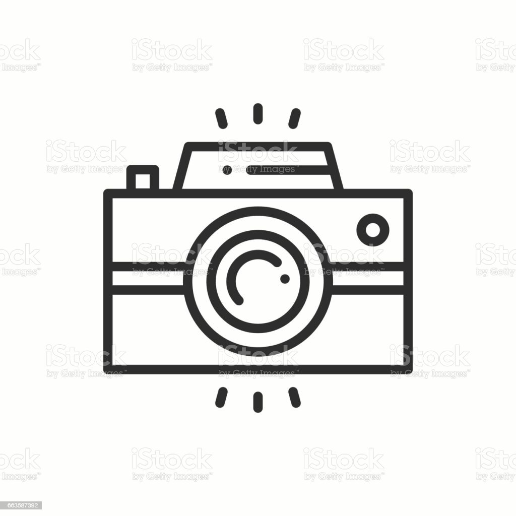Camera line outline icon. Photo camera, photo gadget, instant photo. Snapshot photography sign. Vector simple linear design. Illustration. Flat symbols. Thin element