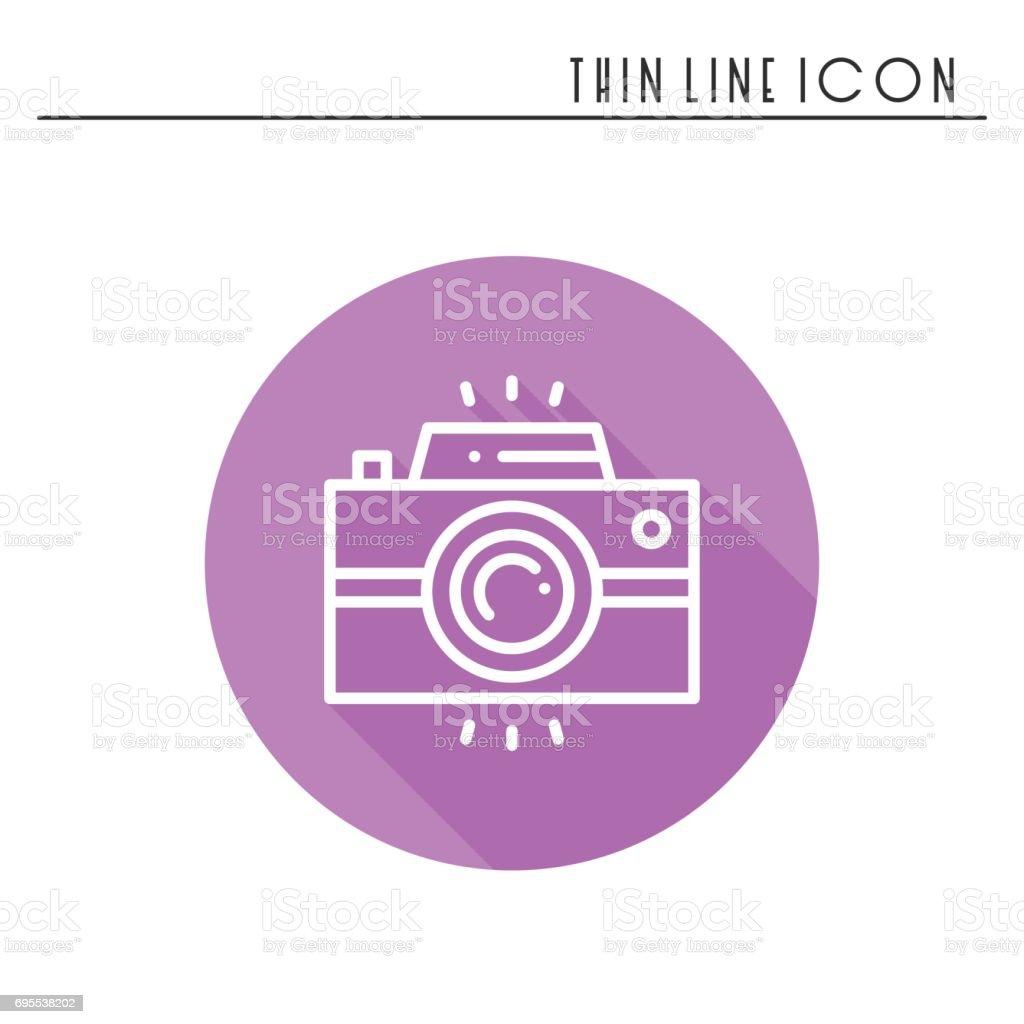 Camera line outline icon. Photo camera, photo gadget, instant photo. Snapshot photography sign. Vector simple linear design. Illustration. Flat symbols. Thin element vector art illustration