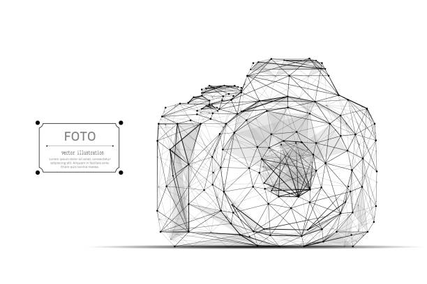 Kamera-low-Poly schwarz – Vektorgrafik
