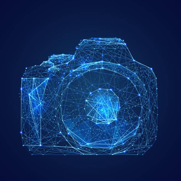 Kamera-low-Poly blau – Vektorgrafik