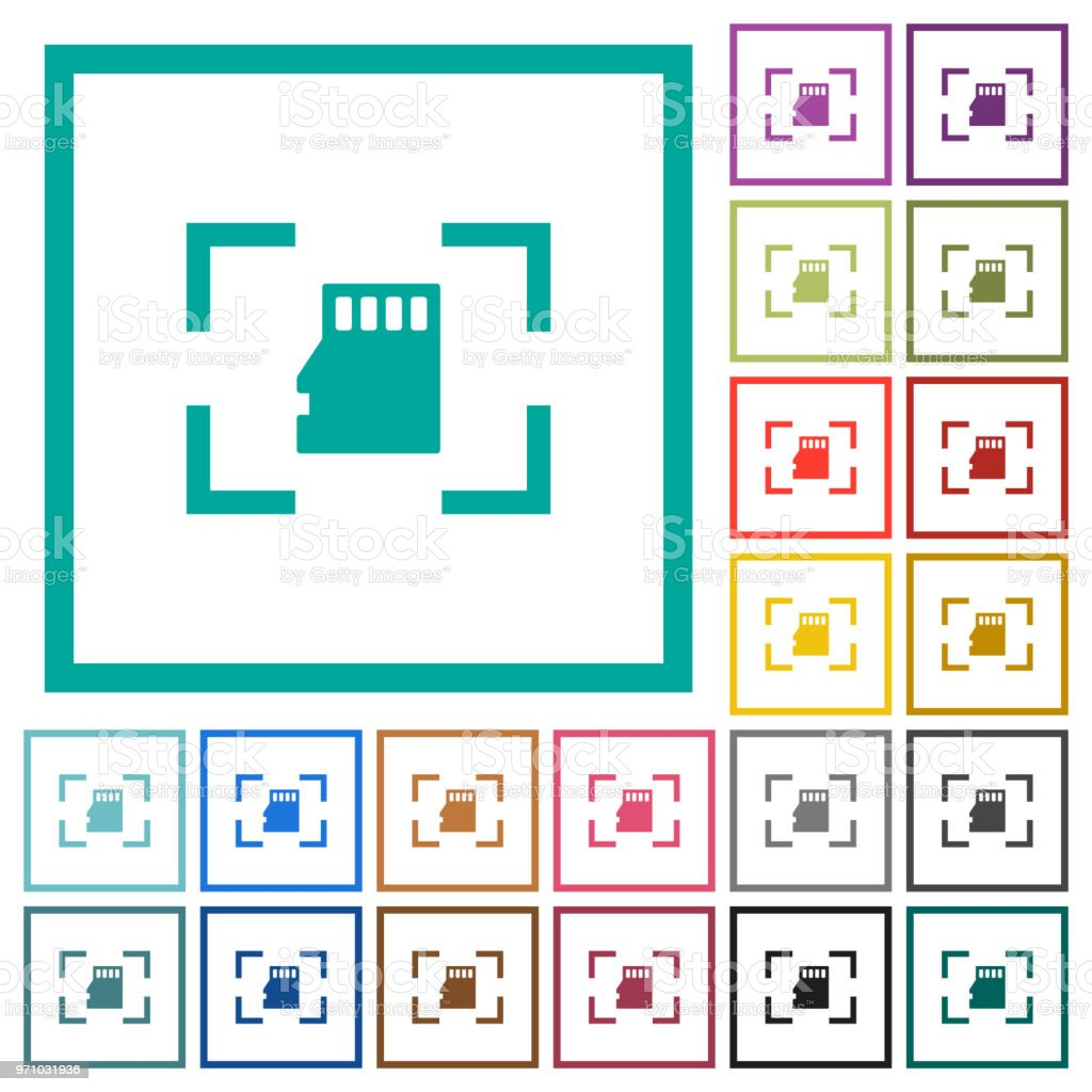 Camera Memory Card Flat Color Icons With Quadrant Frames Stock ...