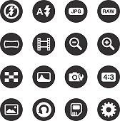 Camera Menu Icons Set 3 - Black Circle Series