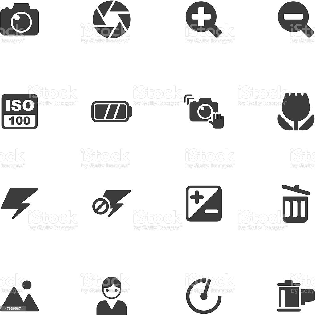 camera menu icons vector art illustration