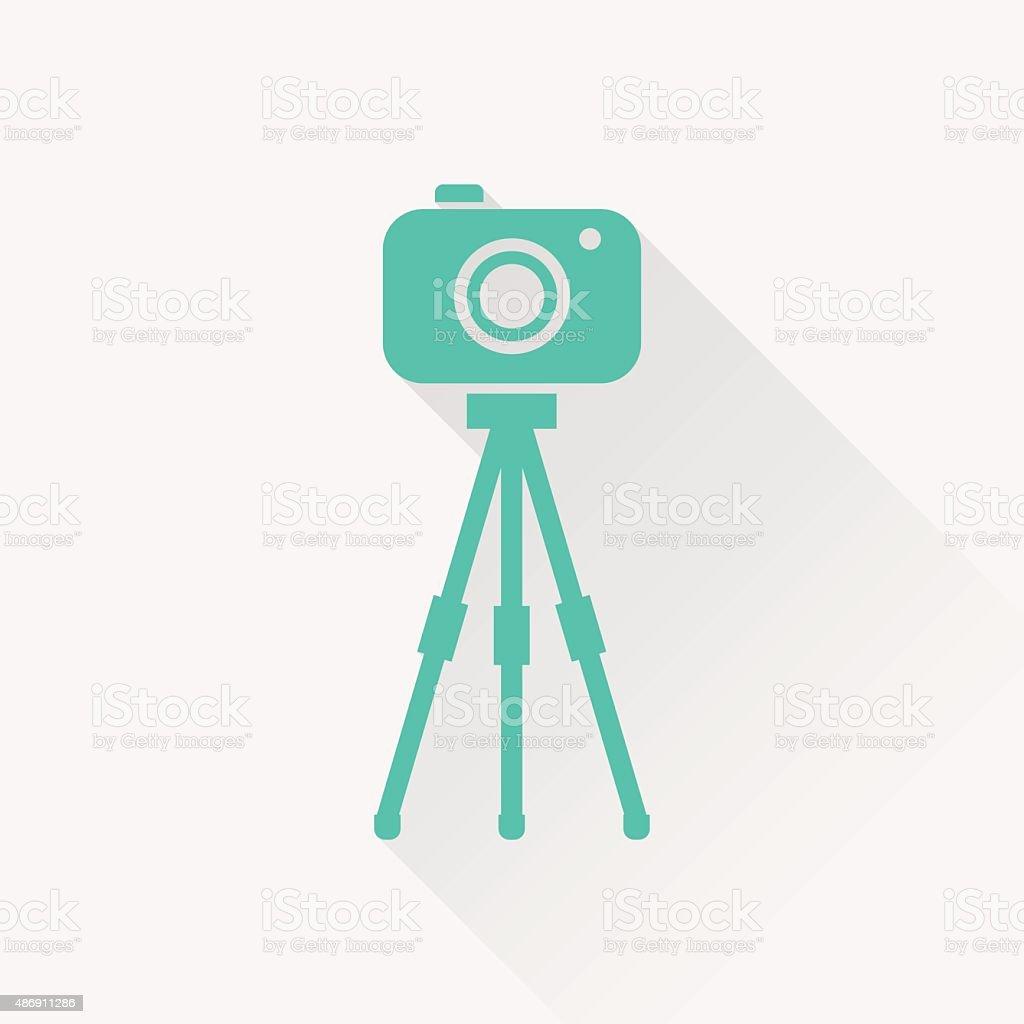 Camera on tripod icon vector art illustration