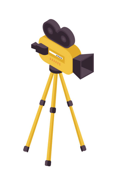 Best Cartoon Of Vintage Camera Tripod Illustrations ...