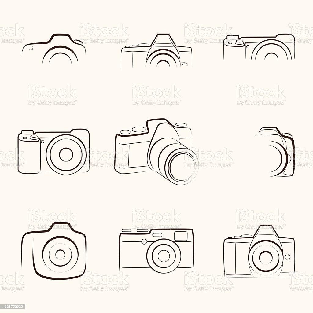 Camera Outline vector art illustration