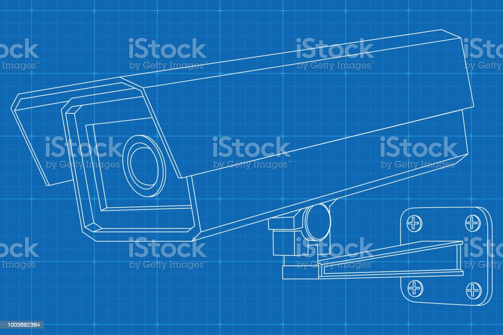 Cctv camera outline vector illustration on blueprint background outline vector illustration on blueprint background royalty free cctv camera outline vector malvernweather Choice Image