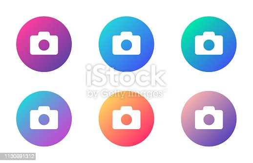 camera photo account ui web button. ui elements. camera photo vector icons on trendy gradients for web, mobile and user interface design