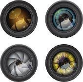 vector set of camera photo lenses