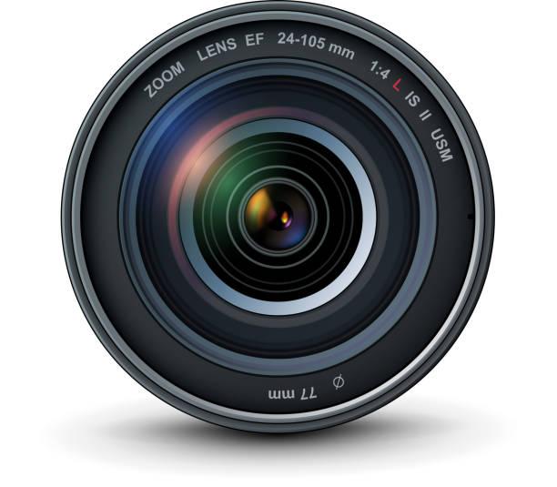 stockillustraties, clipart, cartoons en iconen met de lens van de foto van de camera - telelens