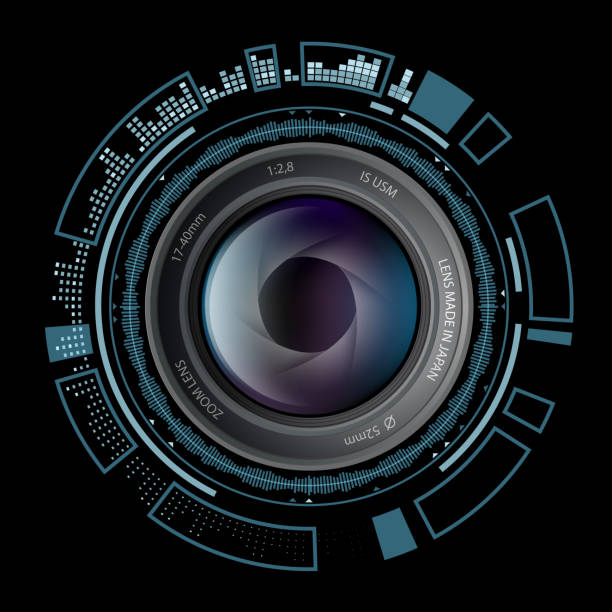 camera photo lens with hud interface. - крупный план stock illustrations
