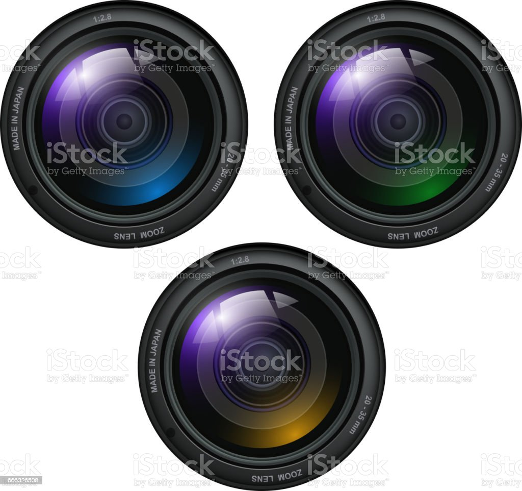 Camera photo lenses vector art illustration