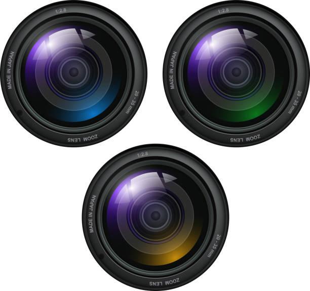 Camera photo lenses vector art illustration