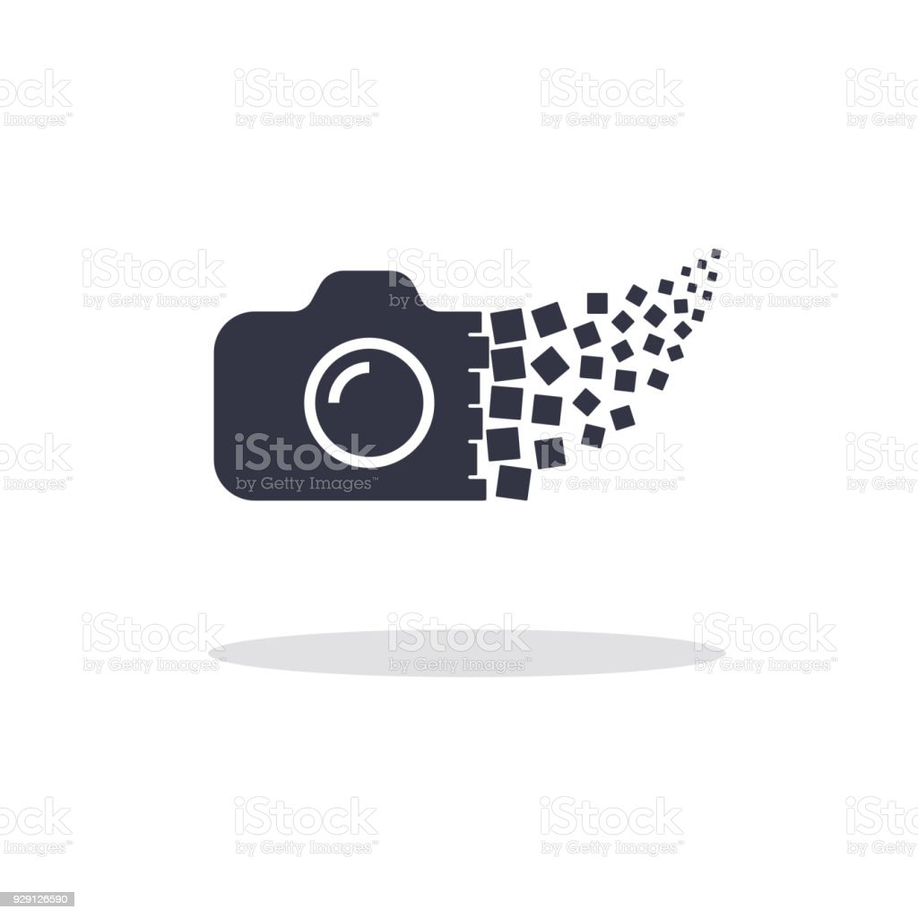 Camera photography logo icon template. Digital camera concept vector art illustration
