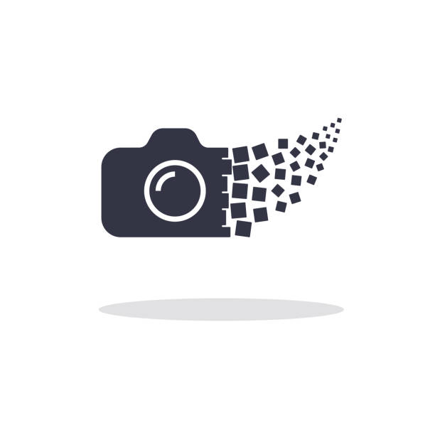 Camera photography logo icon template. Digital camera concept vector art illustration