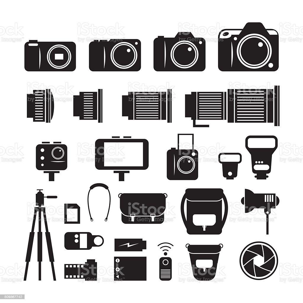 Camera, Photography Mono Icons Set vector art illustration