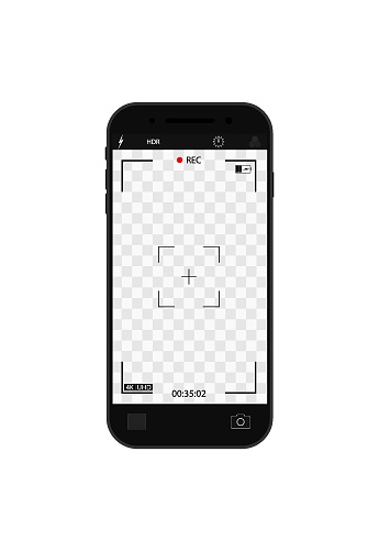 Camera record on screen. Cam frame with interface in phone for photo and 4k video. Viewfinder, focus, grid, zoom in mobile for videography and snapshot. Template smartphone with ui of display. Vector