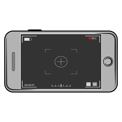 Camera screen phone mobile interface app. Flat Modern smartphone with camera application. User interface of camera viewfinder